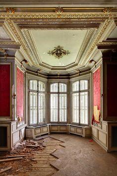 Abandoned Castle Wolvenhof, near a large park near Izegem, in the province of West Flanders, Belgium.