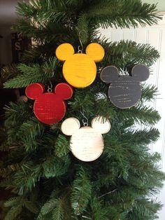 Mickey Mouse Ornament | Disney Wood Ornament | Disney Christmas Ornament | Mickey Mouse Christmas Ornament | Disney Fish Extender by CelebrateOrnaments on Etsy