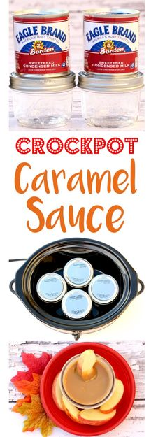 Crockpot Caramel Sauce! Easy Recipes are my favorite, and this 1 Ingredient Condensed Milk ooey gooey caramel sauce is as easy as it gets!  Perfect for dipping apples and adding to desserts!