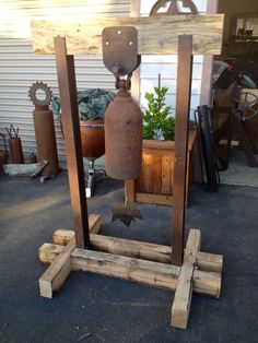 Cylinder bell and stand I made to support the local FFA chapter. All recycled parts.