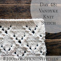 How to knit lace knit stitch, Vandyke +video