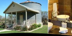 A grain silo tiny house in Texas that you can book a stay in at the Gruene Homstead Inn. It's a grain silo converted into a loft home. Tiny House Living, Cozy House, Two Bedroom Tiny House, Grain Silo, Deco Champetre, Hotel Inn, Unusual Homes, One Bedroom Apartment, Bedroom Loft