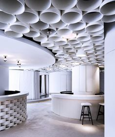 Spa Furama. Formwerkz designed a calming space without corners and ended with fluid circles. Formwerkz refers to these circles as 'bubbles of dream.'