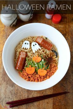 """This otherwise classic noodle dish gets a gruesome (yet tasty) makeover, complete with edible ghosts and """"fingers."""""""
