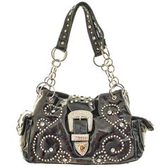 Chocolate Brown Rhinestone Buckle Western Purse