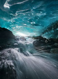 network of glacial blue-ice caves, Alaska's Boundary Range