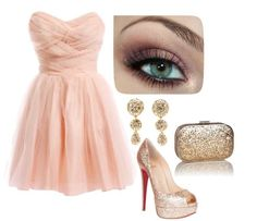 Light pink dress with accessories combination | Combination of clothes and accessorize pics