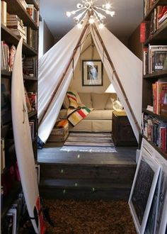 Indoor tipi - best reading nook ever? Reading Tent, Reading At Home, Reading Nooks, Kids Reading, Reading Areas, Future House, My House, House Tent, Indoor Forts