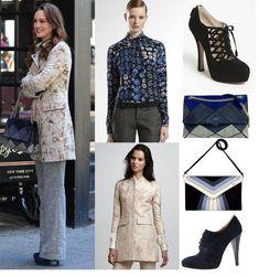 On Blair: Chloe Resort 2012 Coat, Gucci Baltic Print Silk Top, Prada Multi Lace Bootie, Roger Vivier Prismick Bag