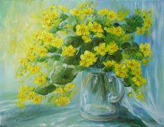 Kaczeńce w kufelku - olej (35x45) - Maria Roszkowska Still Life, Paintings, Pictures, Photography, Vases, Photos, Photograph, Paint, Painting Art