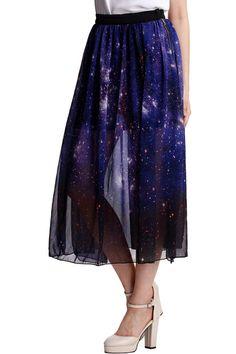 ROMWE   Galaxy Ziped Split Purple Skirt, The Latest Street Fashion #ROMWE