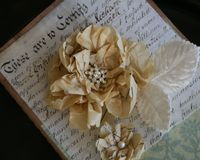 I have lots of vintage sewing patterns stashed away and love the graphic quality of the tissue. I used some of it to create these flowers for a pair of journals for myself. Using a pair of scalloped scissors, I...