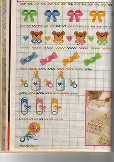 Cross Stitch Music, Cross Stitch Letters, Cute Cross Stitch, Baby Embroidery, Ribbon Embroidery, Cross Stitch Embroidery, Pixel Crochet Blanket, Afghan Crochet Patterns, Baby Cross Stitch Patterns