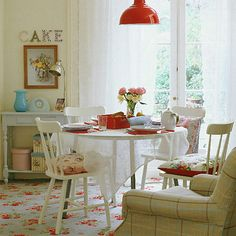 cath kidston carpet from ideal home Cute Cottage, Cottage Style, Cottage Living, Sweet Home, Dining Room Colors, Cath Kidston, My New Room, House Rooms, Dining Area