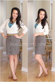 Pencil skirt, tucked in cardigan