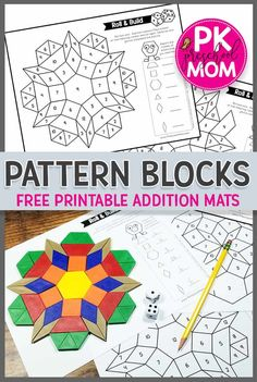 This set of FREE Pattern Block Addition Mats is perfect for students learning to add numbers together. This hands-on learning game makes Preschool and Kindergarten math fun!Free Pattern Block Templates- My Kinder Garden- Maths Guidés, Kindergarten Math Games, Math Classroom, Teaching Math, Kindergarten Checklist, Free Math Games, Math Vocabulary, Classroom Ideas, Pattern Block Templates