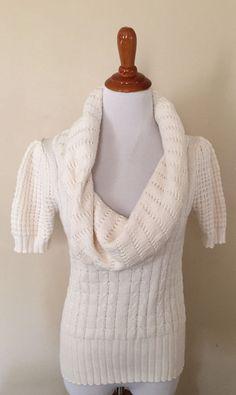 Moda International Ivory Cowl Neck Short Sleeve Sweater sz M #ModaInternational #CowlNeck