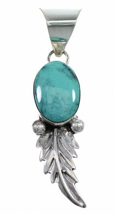 Turquoise American Indian Sterling Silver Feather Pendant