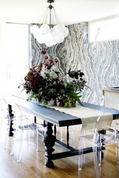 Home Tour: A Perfectly Balanced Creative Seattle Pad//Eclectic dining room design with agate print wallpaper