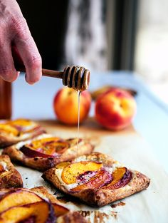Peach Tarts with Goat Cheese and Honey- I bought fresh peach goat cheese today at the farmers market that will be amazing!