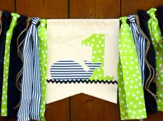 Whale Birthday Banner Highchair High Chair by SeacliffeCottage #nautical #blue #green