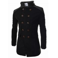 Slimming Stand Collar Inclined Top Fly Color Spliced Flap Pocket Long Sleeves Peacoat For Men Cheap Mens Jackets, Mode Man, Winter Overcoat, Winter Coats, Winter Jackets, Mens Wool Coats, Long Trench Coat, Trench Jacket, Jacket Men