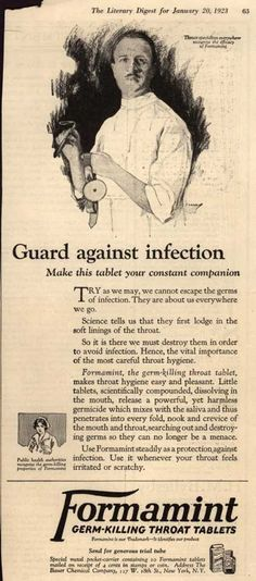 Bauer Chemical Company's Formamint – Guard against infection (1923)