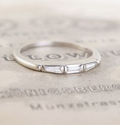 Triple Diamond Baguette Wedding Ring, $900.00 via @Erica Weiner