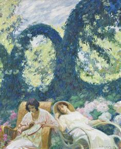Tranquility in the Garden - Octave Denis Victor Guillonnet