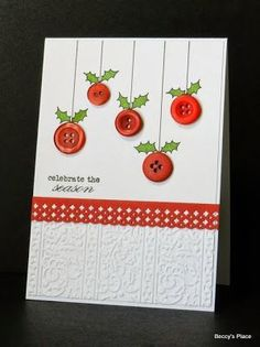 DIY Christmas cards lend a personal air to your holiday greetings. Making personal greeting cards is a festive and easy way to celebrate the holidays. Check out these DIY Christmas cards ideas & tutorials we've rounded up for you. Homemade Christmas Cards, Homemade Cards, Handmade Christmas, Christmas Crafts, Christmas Decorations, Xmas Cards Handmade, Christmas Ornaments, Button Decorations, Christmas Tree