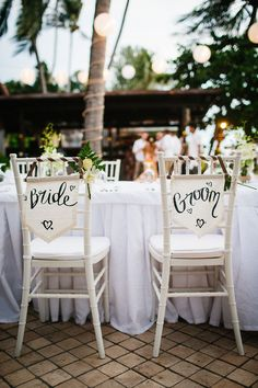 Bride & Groom Chair Back Decor - Claudia Rose Carter Photography Wedding Chair Sashes, Wedding Chair Decorations, Wedding Chairs, Dress Beach, Beach Dresses, Beach Ceremony, Wedding Ceremony, Asos Wedding, Grace Loves Lace