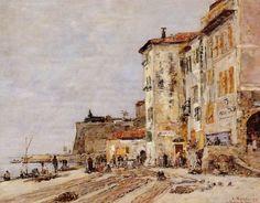 Èugene BOUDIN 'Quay at Villefranche-sur-Mer' 1892 #Alpes-Maritimes #Provence-Alpes-Côte-d'Azur #Villefranche-sur-Mer