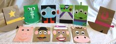 10 Handmade Toy Story INSPIRED Kids Birthday Party Theme  Favors Treat Favor Loot Goody Gift Sacks Bags Woody Buzz Jesse Rex Bullseye Lenny Alien Hamm Ham Hammy