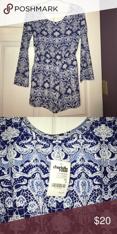 doesn't fit me correctly never worn, with tags, size small blue and white romper from charolete russe Charlotte Russe Tops Crop Tops