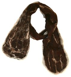 """Evelyn,"" Alpaca and Silk Artisan Scarf, Brown and Tan Marbled Look with Tussah Silk Strands."