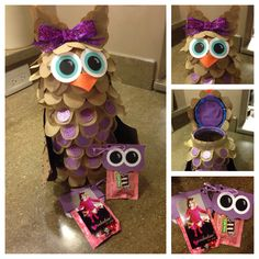 Owl be your valentine! Plastic canister with half sphere styrofoam used to create the owl valentine box. Used paper bags cut into feathers and scrap booking paper to add color and features.