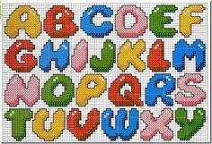 Gráfico ponto cruz alfabeto gordinho