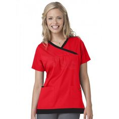 Mary Engelbreit Y-Neck Trimmed Top. Besides red, this nurse scrub fashion top is available in black, navy, hot pink, blue, pewter, and white
