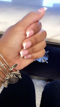 Installation of acrylic or gel nails - My Nails White Tip Acrylic Nails, Short Square Acrylic Nails, Acrylic Gel, Dope Nails, My Nails, Nail Manicure, Nails Short, Gel Nails At Home, French Tip Nails