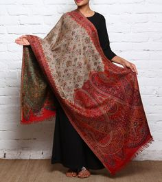 #Red Kani Work Semi #Pashmina #Stole by #Kashmiriyat at #Indianroots Was $420 | Is $189