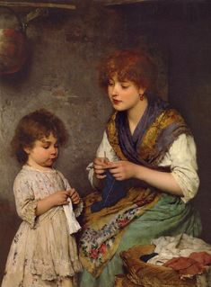 Eugene de Blaas (Austrian/Italian 1843-1932) The Knitting Lesson