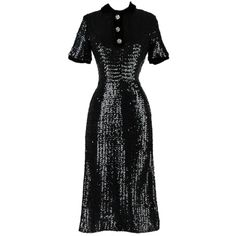 Vintage 1950's Black Sequins Rhinestone Button Dress | From a collection of rare vintage evening dresses at http://www.1stdibs.com/fashion/clothing/evening-dresses/