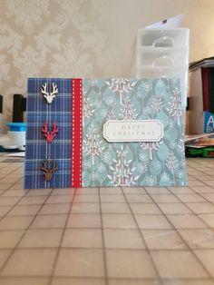 Blue tartan and stag head card