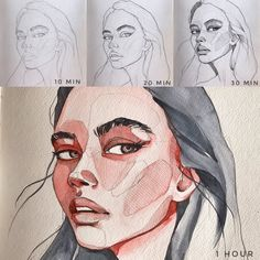 Sketching time steps by Polina Bright - art inspo Painting easy Painting ideas Painting water Painting tutorials Painting landscape Painting abstract Watercolor Painting Watercolor Portraits, Watercolor Paintings, Watercolor Landscape, Drawing Sketches, Art Drawings, Drawing Art, Bright Art, Wow Art, Art Sketchbook