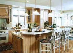 long two level kitchen island | The long, multilevel kitchen island seats the whole family and boasts ...
