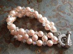 Breast Cancer Awareness Pink Glass Pearl and Swarovski by Dajamana, $85.00