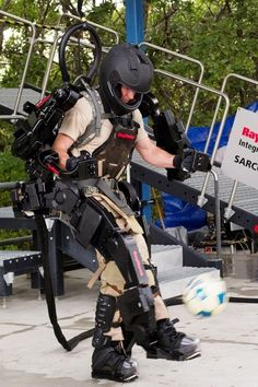 Raytheon Sarcos XOS 2 exoskeleton. The future is coming quickly, and Raytheon is one of many companies working on getting powered suits up and running. It's interesting to see how similar it is to many powerloaders and armor suits from fiction.