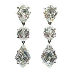 3.25 Carats Diamond Platinum Kite Drop Earrings | From a unique collection of vintage dangle earrings at https://www.1stdibs.com/jewelry/earrings/dangle-earrings/