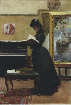 A Visitor in the Studio, 1885  by Sir John Lavery (Irish 1856-1941) ....although Irish, Lavery spent much of his formative life and career in Scotland and was a central figure of The Glasgow Boys...