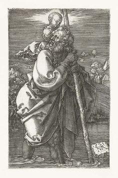 """St. Christopher Facing to the Left"" (1520) by Albrecht Dürer (1471-1528)"